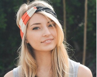 American flag headband, July 4th headband, turban headband, womens headband, adult headband, Christmas gifts, Gift For Her, turban headband