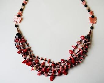 "Multi-Strand Butterfly Necklace - ""Butterflies"""