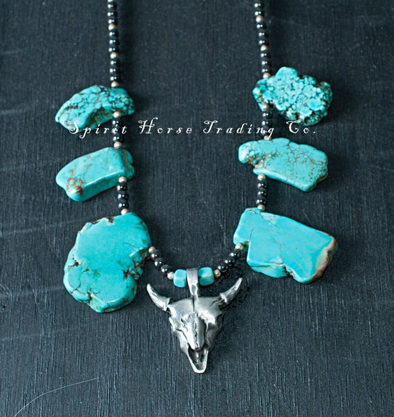 """Silver Steer Head Pendant with turquoise colored stone beads. Hematite and silver beads. 18"""" long. Unique, one of a kind."""