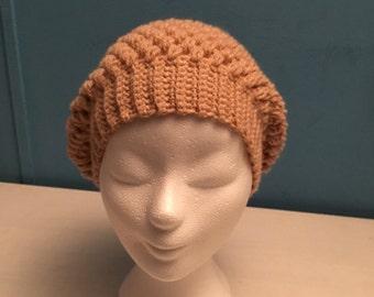Wide hat, crochet in beige/old-rose