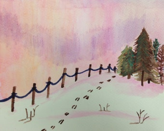 Snowy Sunrise Watercolor Painting