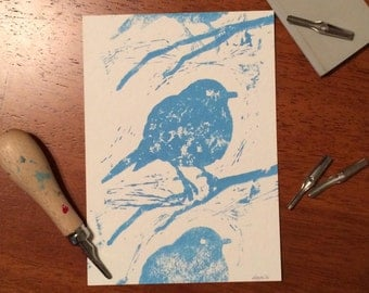 Double Robin, Fine Art Print, Original Relief Print