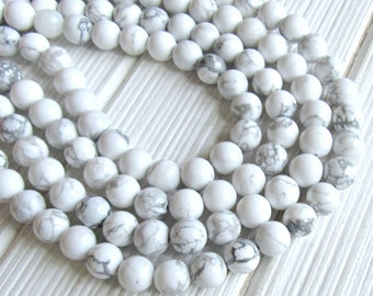 10mm Howlite beads, full strand, white howlite beads, white beads, gray beads, 10mm gemstones, gemstone strand, US seller, jewelry supplies