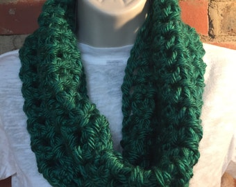 Green Chunky Cowl Neck Infinity Scarf | Green Scarf | St. Patrick's Day Scarf | Green