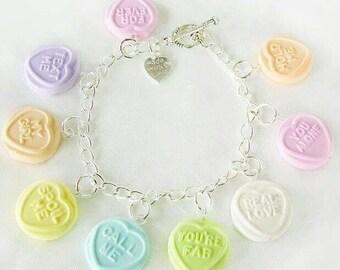 Loveheart, candy imitation, bracelet, handmade, gift for her