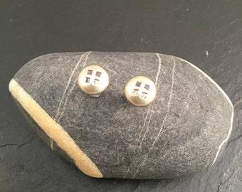 Stud earrings, button earrings, silver earrings, Sterling silver earrings, unique earrings,