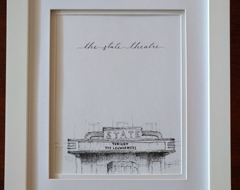 Print of Pen & Ink Architecture Sketch - The State Theatre - Falls Church, VA