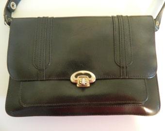 Art Nouveau / Art Deco style Vintage Black Leather Handbag Adjustable Strap