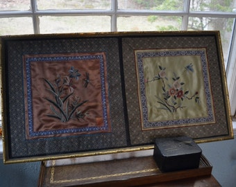 SALE Vintage Framed Chinese Embroidery
