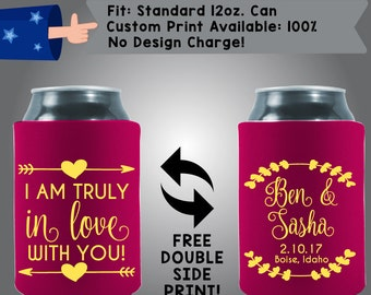 I'm Truly In Love With You Names Date Collapsible Fabric Wedding Cooler Double Side Print (W97)