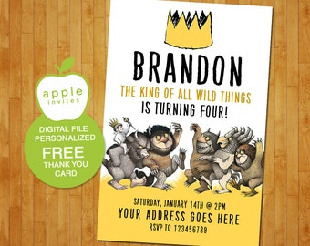 where the wild things are invitation, where the wild things are party, where the wild things are birthday, FREE Thank you Card!
