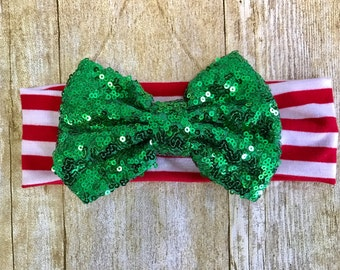 Christmas sparkly bow headband, christmas headband