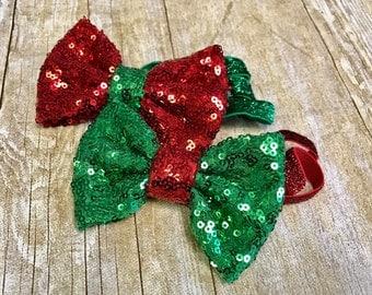 Christmas headband, sparkly Christmas bow