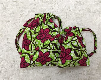 unique Kit 2 smallbags in African fabric, green and pink - 2 sizes - cotton bags