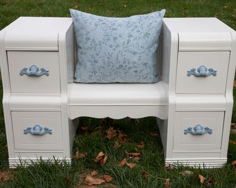 Blue and White Vanity Table