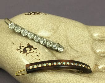 French vintage 1940 hair clips, set of two, beautiful sparkle