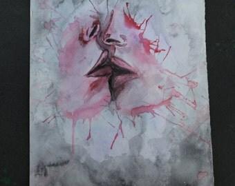 Watercolor Kissing