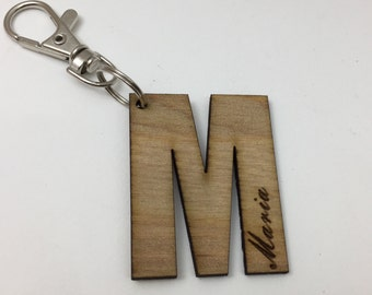 Engraved wooden letter name keychains