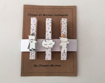 "clothespins décoration "" Choumi and Michou "" -room decoration"