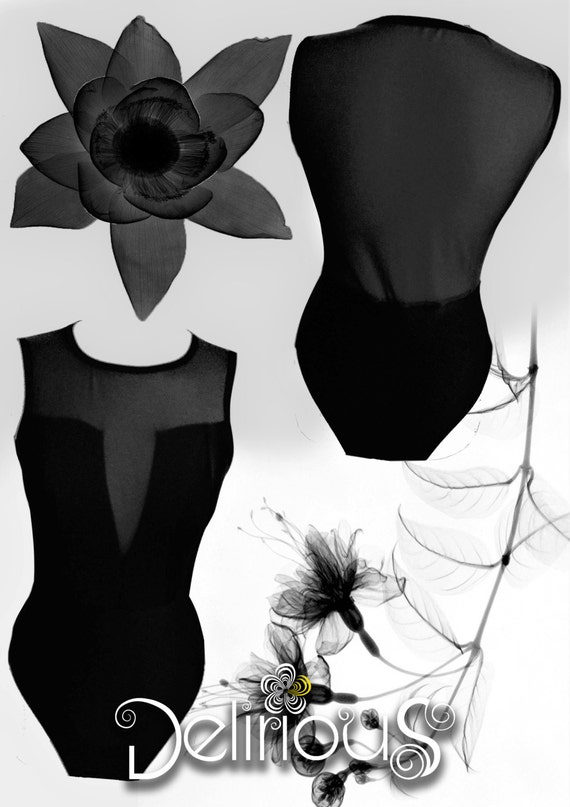 Black woman plunge transparency sleeveless Bodysuit