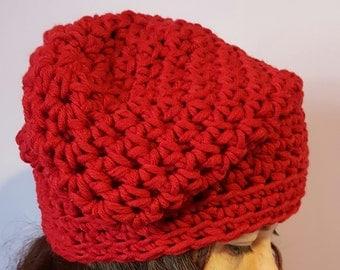 Red wool crochet Hat