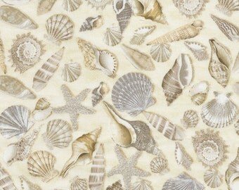 """Remnant 31""""x44"""" Beach Fabric - Seashell Nautical Sand Ocean by Timeless Treasures of Soho - R177 100% Quality Cotton by 1/2 yd or Yardage"""