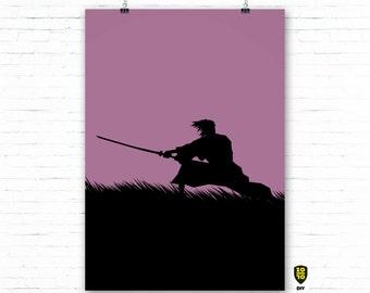 Ronin VIOLETT A0 OVERSIZE FORMAT Bushi Honor Japan digital illustration by Alexander Fechner