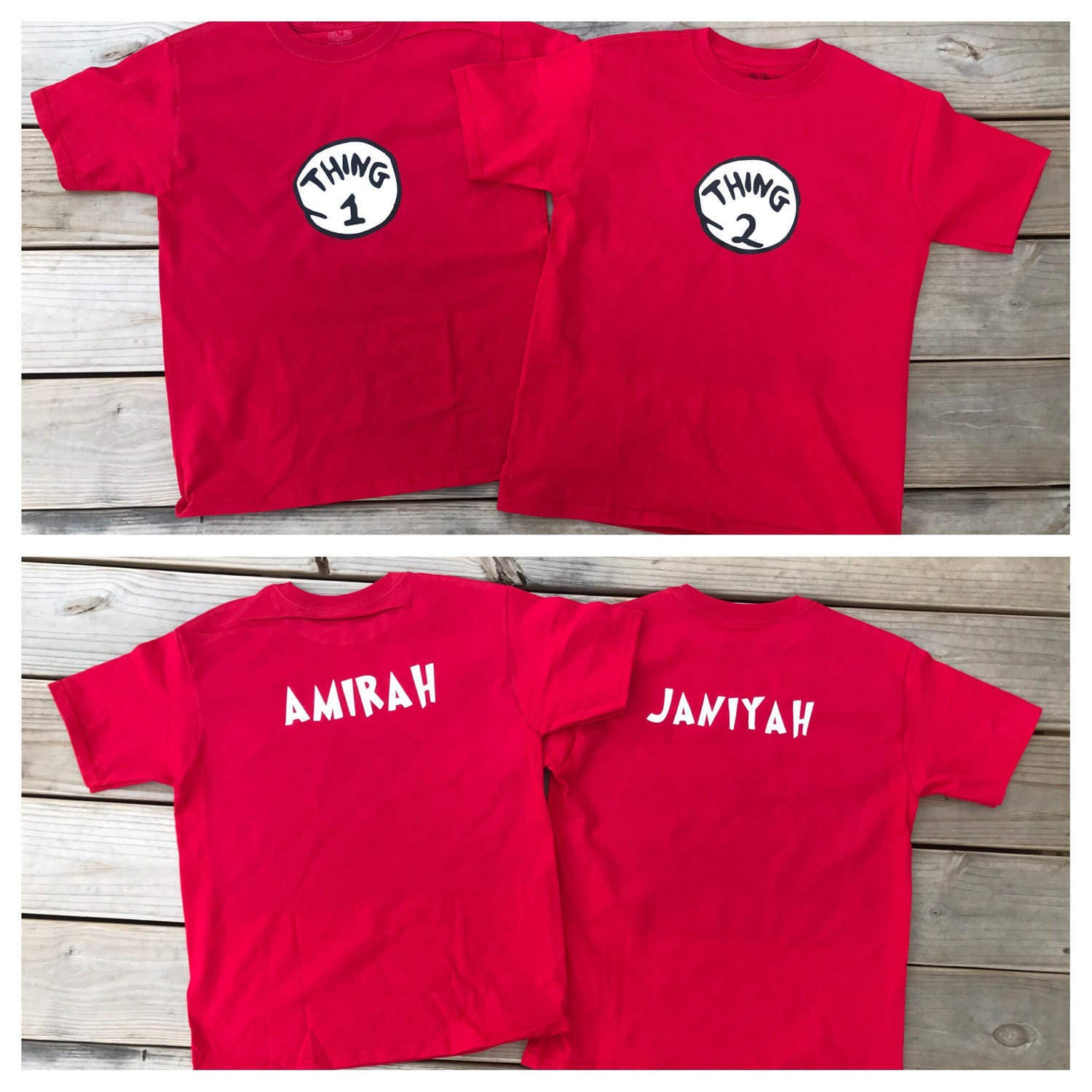 Thing 1 2 Shirts Kids Unisex With Names On Back