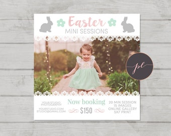 Easter Mini Session template, Spring Photography, Easter Marketing, Photoshop Template, Instant Download, Bunny Template