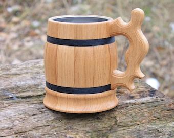 Personalized Beer Mug , Wooden beer mug, Groomsman gift, Wood Tankard, Beer Tankard, Wooden mug, Beer mug 22oz (0.6l), Chope à bière bois