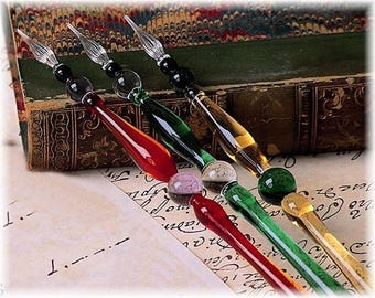 Murano glass pen with glass nib.