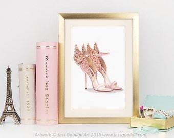 Angel Wings Stiletto Fashion Illustration Print