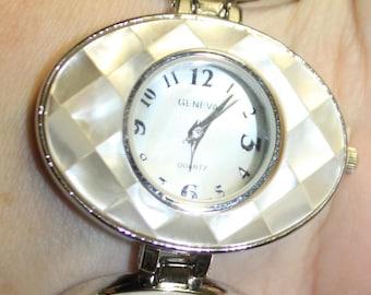 Mother of Pearl Silver Tone Link Watch SKU XWaWHOVIR3a