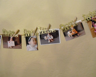 Baby First Birthday Banner, 12 Month Photo Banner, First Birthday Garland, Birthday Banner, Birthday Party Deco,Wall Deco, Ready to Ship
