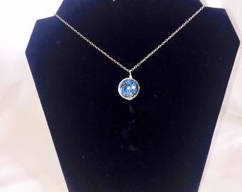 Aurora star blue burst necklace