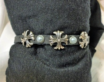 Biker's Crosses with Pearls