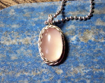 Rose Quartz Pendant with Silver Plated Ball Chain