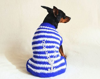 Dog clothes - jacket for min pin, small dog clothes, knitted dog sweater