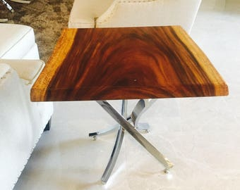 Live edge wood end table