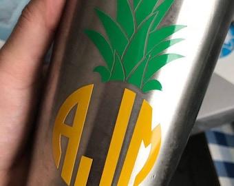 Pineapple Decal - Monogram Pineapple Decal - Traditional Monogram Decal