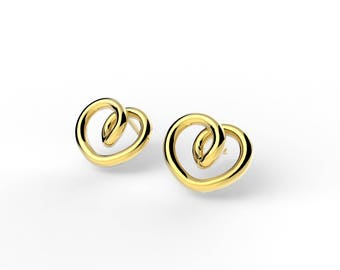 Gold plated infinite hearts earrings
