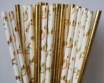 Unicorn and Rainbows Party Straws, Unicorn Straws, Rainbow Decorations, Girl Birthday Party Decorations, Girl Straw Mix, 25 Piece Mix