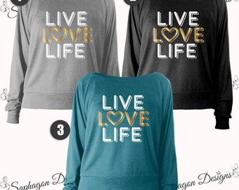 Live, Love, Life, Tri-Blend, Raglan Pullover