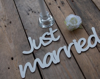 "3D - Label ""Just Married"" - Typo Decoration, Hardfibre"