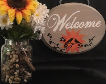 Hand painted Welcome sign with Birds and sun