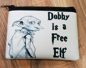 Dobby Is A Free Elf Coin/ Make up Bag