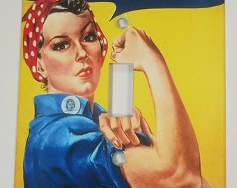 Rosie The Riveter Metal Light Switch Plate