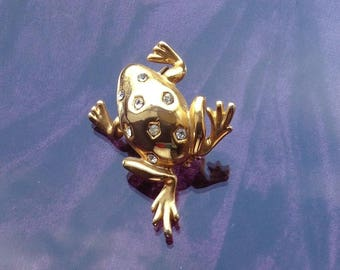 1980s gilt/gold colour Toad (or fat Frog) Brooch/Pin