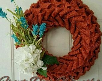 Rust Burlap Petal Wreath