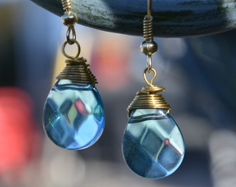 Blue and Gold Gem Earrings